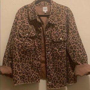 Stretch leopard jean jacket